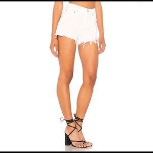 Agolde Parker Cut Off White Shorts in Detour